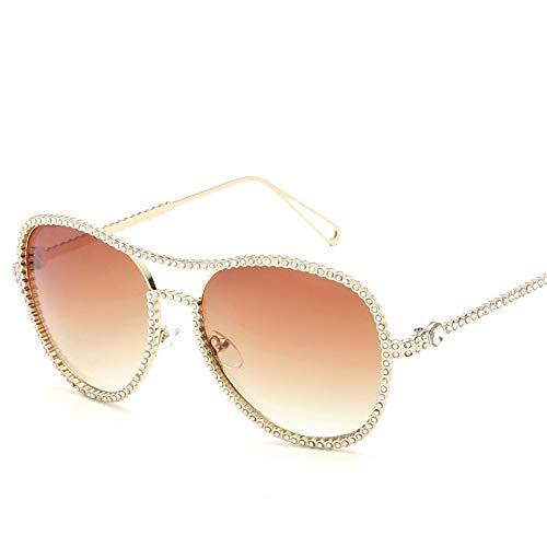 MJDABAOFA Sonnenbrillen,Neue Blink Oval Glatte Gläser Gold Frame Braun Objektiv Mode Mit Großem Rahmen Elegance Lady Spiegel Plain Gläser Strahlenschutz Gläser Uv 400