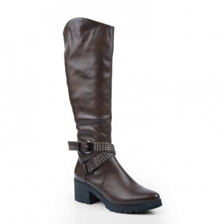 Ideal Shoes - Bottes en similicuir avec ceinturon incrusté de clous Valentine Marron