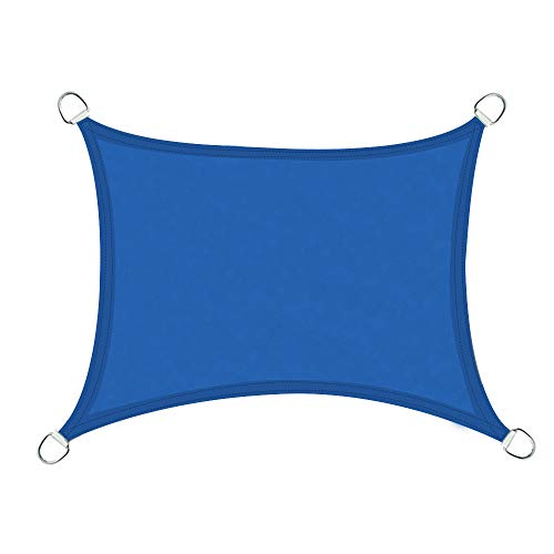 Greenbay Voile d'ombrage Rectangulaire | 5x4m Bleu | Une Protection des Rayons UV | Toile d'ombrage Auvent Pare-Soleil de Jardin