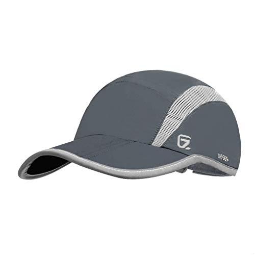 GADIEMENSS Quick Dry Sports Hat Lightweight Breathable Soft Outdoor Running Cap (Folding series, Dark Grey) -