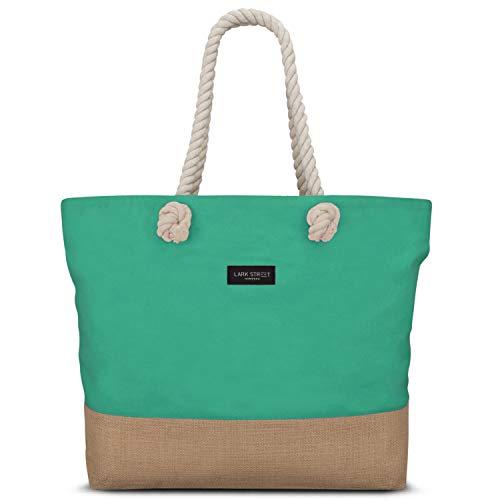 Große Jute-tote (LARK STREET Strandtasche Grün Beach Bag für Damen & Herren aus robustem Baumwoll Canvas & Jute - Badetasche mit Breiten Kordeln für angenehmen Große Tasche mit Reißverschluss)