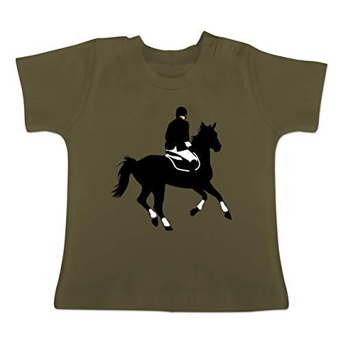 Sport Baby - Dressur Pferd Reiter Dressurreiten - 6-12 Monate - Olivgrün - BZ02 - Baby T-Shirt Kurzarm