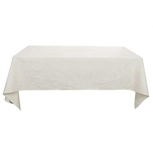 Deconovo Nappe Anti Tache Rectangulaire Imperméable pour Cuisine en Coton 130x220 cm Blanc Pâle Gris