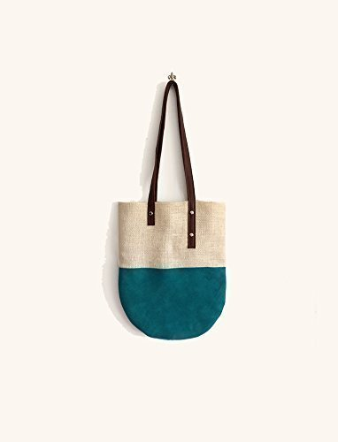 Suede jute tote bag for work or for holidays, handmade handbags limited edition BBagdesign. - handmade-bags