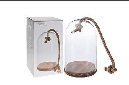 Tarro de cristal en forma de campana con base de madera y cuerda para