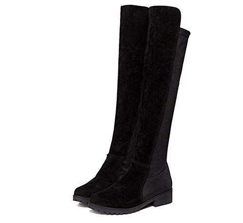 Knie Lange Boot (DEED Damen Stiefel Lange Kanister Matte dünne elastische Knie mit niedrigen hochhackigen Biker Boots und dicken Schuhen,39 EU,Schwarz)