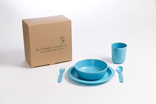 ig Kinder Abendessen Set Bambus biologisch abbaubar ungiftig Umweltfreundlich - blau (brilliant blue) ()