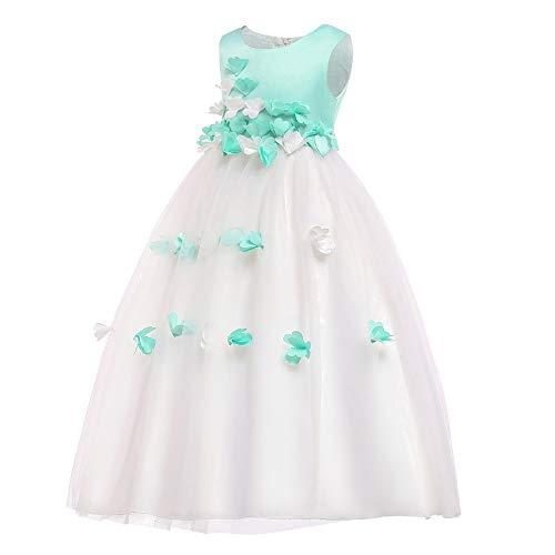 KINDOYO Ballkleid - Mädchen Blütenblatt Blumen Prinzessin Formale Gelegenheit Festzug Abend Geburtstag Party Kleider,Grün,EU 160cm=Tag 170cm