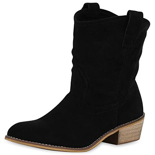 SCARPE VITA Damen Stiefeletten Cowboy Boots Western Schuhe Wildleder-Optik Westernstiefel Holzoptik Cowboystiefel 175756 Schwarz Total 38 -