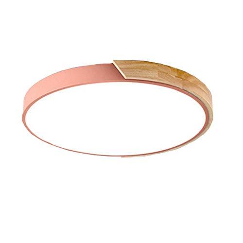 Towero Nordic deckenleuchte einfache macarons acryl deckenleuchte log ultradünne deckenleuchte runde LED wohnzimmer schlafzimmer haus (Color : Pink) -