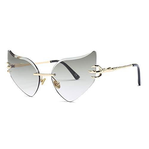 MJDABAOFA Sonnenbrillen,Geformte Gläser Drachenkralle Diamond-Cut Wing Schmetterling Brillenmode Sonnenbrille Gold Frame Grün & Graue Linse Frauen Sonnenbrille Uv400