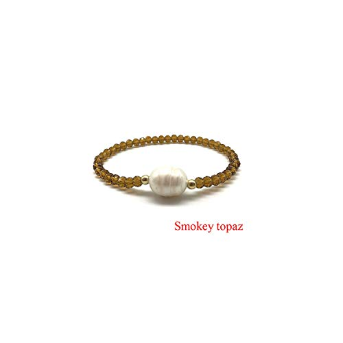 Awertaweyt Edelstein Perlen Armband Crystal Glass Beads Natural Freshwater Pearl Bracelets for Women Elastic Line Handmade Strand Bracelets Fashion Beaded Bracelet Smokey Topaz 19cm (Charme James Avery)
