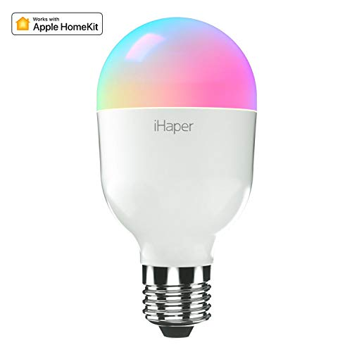 Bombilla Inteligente Led E27, iHaper Wifi Bombilla 7W, 16 millones de Colores Regulables,No Se Requiere Hub,Compatible con Apple HomeKit, Alexa y Google Home (solo para iOS)