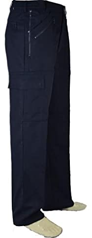 Mens Thermal Lined Cargo Trousers - Navy - W40/L29