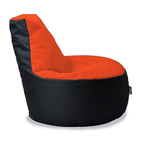 BuBiBag Gamer Kissen Lounge Sitzsack Sessel original Sitzkissen In & Outdoor geeignet fertig befüllt in 31 Farben (Neonorange-Schwarz)