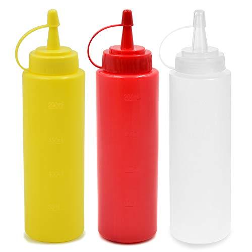 cococity 3pcs Squeeze Flaschen mit Kappe Gewürzspender 240ml Gewürzgläser 8 oz Garnierflasche für Zuhause Restaurant Ketchup Senf Mayo Dressings Olivenöl (Gewürz Mit Kappe Behälter)