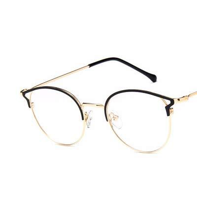 SNXIHES Sonnenbrillen Cat Eye Runde Brille Schwarz Silber Gold Brillen Box Herren Transparente Brillen Retro Metall Brille Optische Brille 2