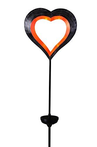 Solar schwebendes Herz orange/rot mit weißen LEDs Solarleuchte Gartenstecker Gartenbeleuchtung