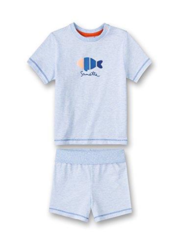 Sanetta Sanetta Baby - Jungen Zweiteiliger Schlafanzug Pyjama Short 220923.0, Gestreift, Gr. 74, Blau (Bleu Melange 50240.0)
