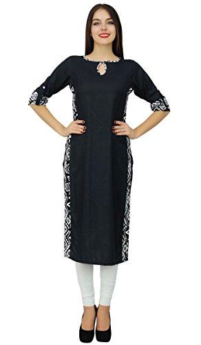Bimba les plaine kurta noire casual wear droite rayonne tunique chic de indiens Noir