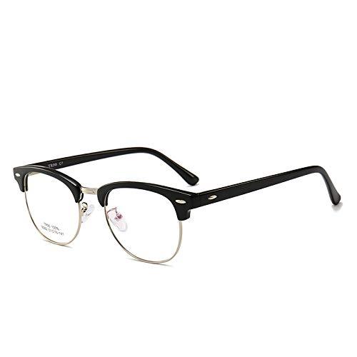 Männer Frauen Mode Retro Frame Plain Glass Spectacles C7 helles schwarzes Silber