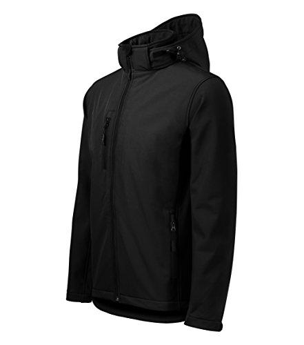 Giacca softshell con cappuccio per uomo - altamente resistente all'acqua - owndesigner by adler abbigliamento sportivo (nero – taglia: xxl)