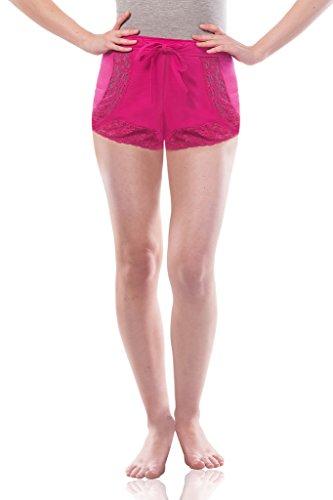 Miss Chase Women's Pink Lace Nightwear Shorts