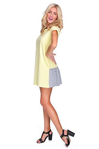 FUTURO FASHION - Robe - Patineuse - Manches Courtes - Femme Rose Pêche Taille Unique Jaune - Jaune