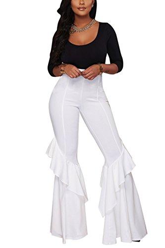 Le Donne Alla Vita Libera Ruffless Occasionale Plain High Palazzo Pantaloni Bell Sotto I Pantaloni White