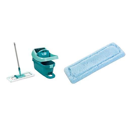Leifheit Set Wischtuchpresse Profi XL mit Bodenwischer und Rollen zum Putzen & ohne Bücken &  Wischbezug Profi XL static plus wirkt wie ein Magnet, Bodenwischer Ersatzbezug für glatte Böden