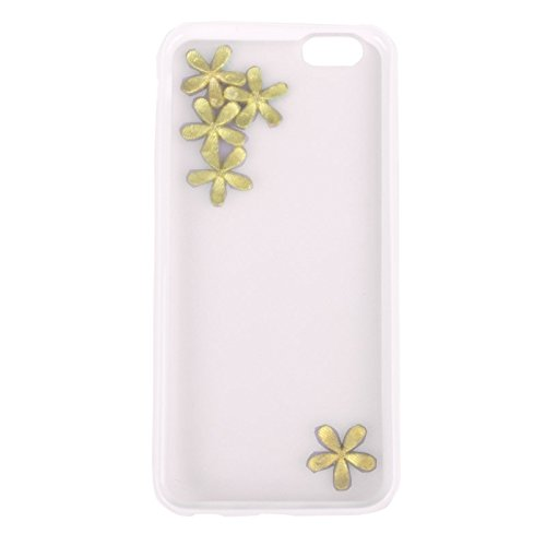 Wkae Case & Cover ultra - minces transparents tpur incrustée de diamants stéréoscopique pour iphone 6 protection de prunes et &6s et ( Color : White ) Blanc