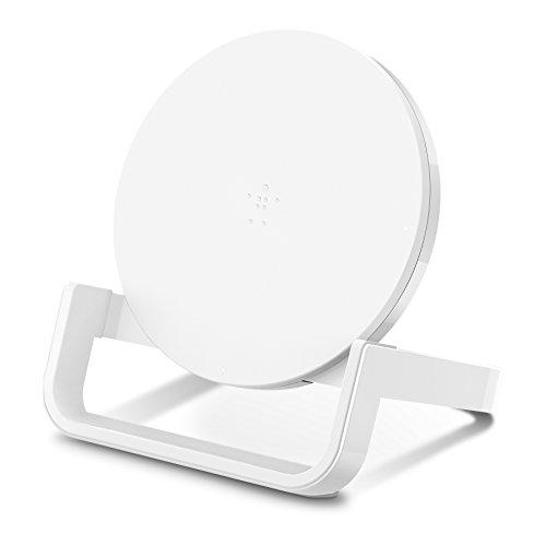 Belkin Boost Up Soporte de Carga Inalámbrica de 10 W, Cargador Inalámbrico Rápido Qi para iPhone XS, XS Max, XR, X, 8, 8 Plus, Samsung Galaxy S10, S10+, S10e, Huawei P30, P30 Pro y Otros, Blanco