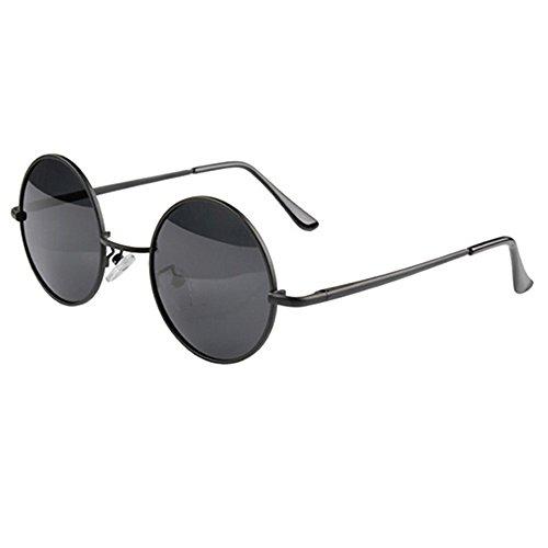 Männer Damen Runde Metallrahmen Sonnenbrille Brille schwarz Objektiv