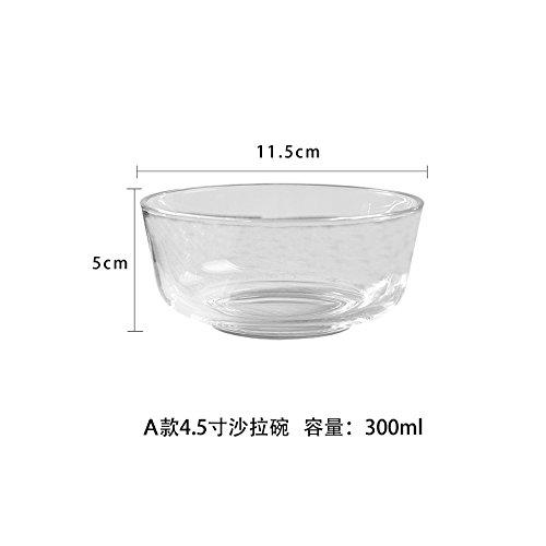 YUWANW Transparente Glasschüssel Reisschale Obstsalat Schüssel Salatschüssel Große Mittlere und Kleine Schüssel, Eine 4,5-Zoll-Salatschüssel