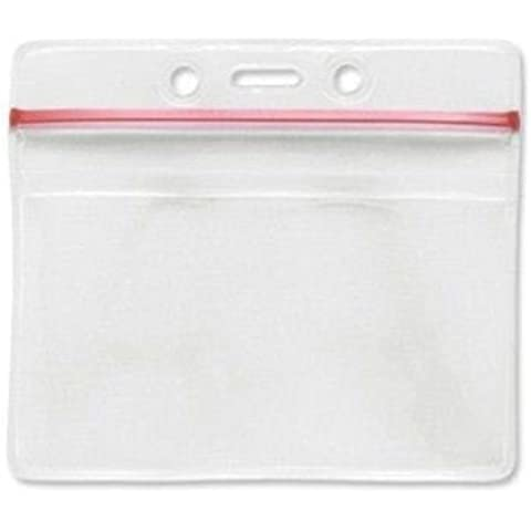 Brady Horizontal Resealable Vinyl Badge Holders All Weather Resistant - 100 Pieces by Brady
