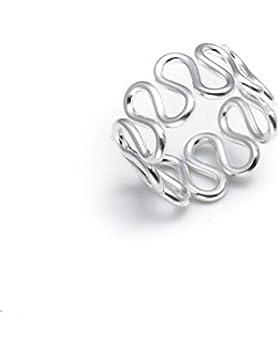 Silverly Frauen 925 Sterling Silber Snake Wave-Swirl Einstellbare Zehenring