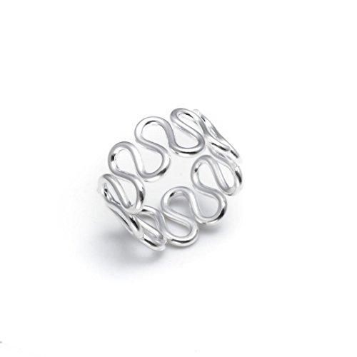 Silverly Frauen .925 Sterling Silber Snake Wave-Swirl Einstellbare Zehenring
