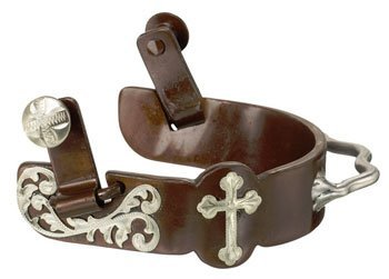 Kelly Silver Star Floral and Cross Bumper Spur - Antique Brown by Kelly Silver Star