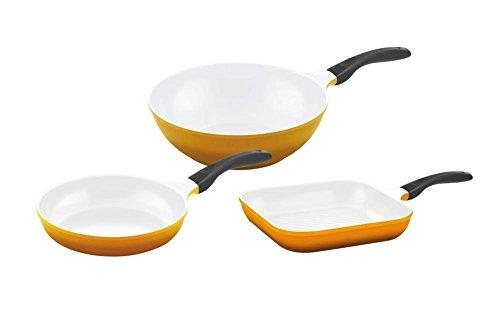 culinario Pfannenset mit weißer antihaft Keramikbeschichtung in gelb, Bratpfanne Ø 24 cm, Grillpfanne 28 x 28 cm und Wok Ø 30 cm