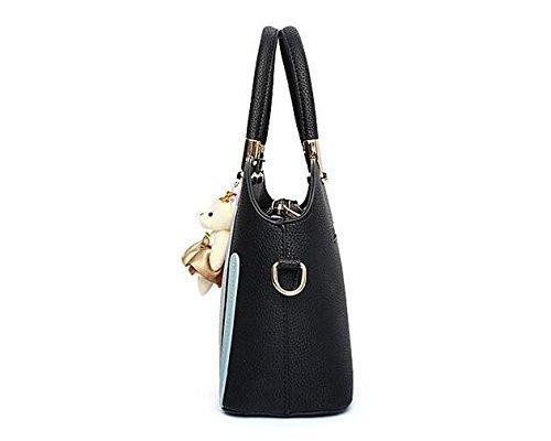 LDMB Damen-handtaschen Frauen PU-lederne große Kapazitäts-Normallack-Schulter-Beutel-Kurier-Handtaschen-justierbare einfache wilde Einkaufstasche Black