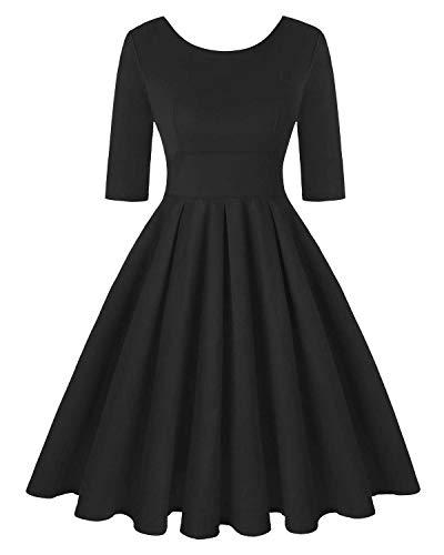 MINTLIMIT Damen Retro Blumenkleid Vintage Stil Cocktail Party Schwingen Kleid (Einfarbig Schwarz,Größe L)