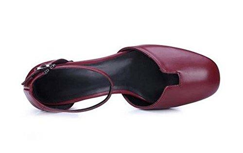 Beauqueen Pelle Scarpin Matte tacco basso della caviglia pompa donne della cinghia Ragazze casuali piane eleganti scarpe Shallow Europa formato 34-39 wine red