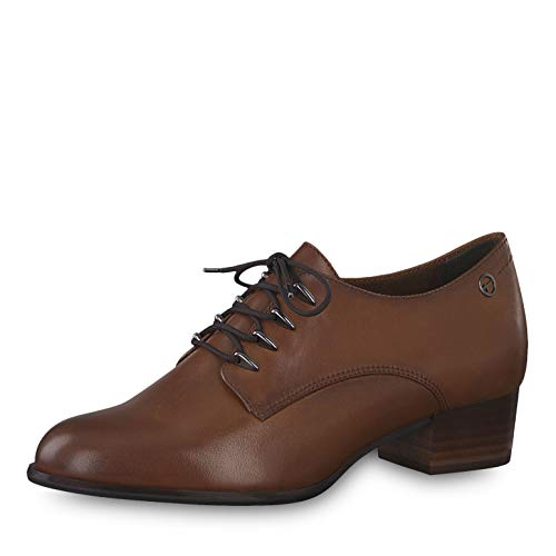 Tamaris Damen Schnürhalbschuhe 23301-23, Frauen Businessschuh, Frauen weibliche Lady Ladies feminin Women's Women Woman leger,Cognac,38 EU / 5 UK