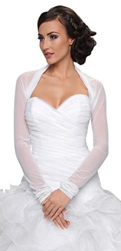 Ossa - Bolero, Bolerojaeckchen fuer Hochzeit aus elastischem Tuell, hochwertig, mit langen Aermeln, Gr. 40-42 (L/XL), elfenbein (Braut Bolero Ivory)