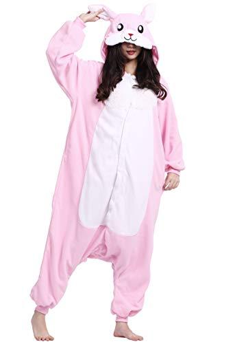 Kigurumi Pigiama Anime Cosplay Halloween Costume Attrezzatura Adulto Animale Onesie Unisex, Coniglio Rosa per Altezze da 140 a 187 cm