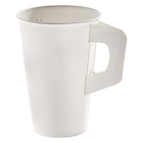 200 Stk. Henkelbecher Kaffeebecher weiß, Eichtstrich, Pappe beschichtet, 200 ml / Soll's ein wenig eleganter sein? Caféhaus-Flair versprüht dieser Henkelbecher. Er verbindet die hohe Stabilität des Bechers mit dem komfortablen Handling einer Porzellantasse.
