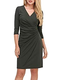 34028d0f6f06 Revdelle - Robe Cache Coeur col V Made in France Manches 3 4 Femme Myriam