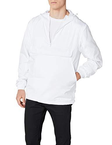 Urban Classics Herren Windbreaker Basic Pull-Over Jacket, leichte Streetwear Schlupfjacke, Überziehjacke für Frühjahr und Herbst - Farbe white, Größe S