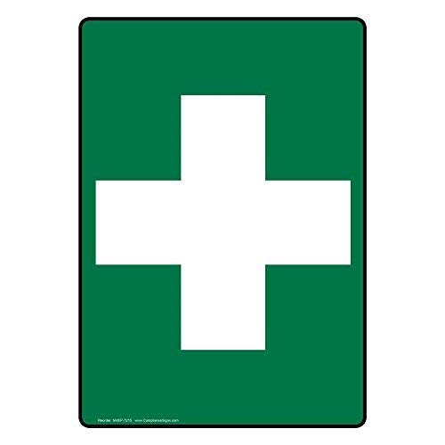 wenyige8216 Glow-In-The-Dark First Aid with [Graphic Only] First Aid Cross Symbol Green Metal Sign Aluminumigns 10X14 Inch (Dark Cross Glow In The)