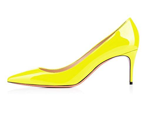 uBeauty Scarpe da Donna - Scarpe Col Tacco - Classiche Scarpe Col Tacco - Tacco a Spillo - 65 mm con Tacchi Alti Giallo